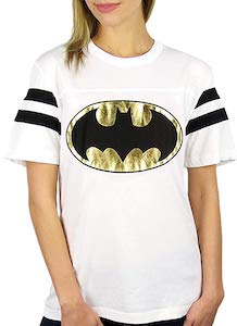 Batman Gold Logo Footbal T-Shirt