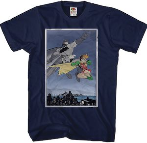 Batman And Robin Hanging In The Sky T-Shirt