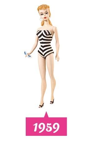 1959: de eerste Barbiepop Barbie Barbara Millicent Roberts verscheen op de markt. De pop kenmerkt zich door een extreem smalle taille en een Westers uiterlijk met blond haar en blauwe ogen.