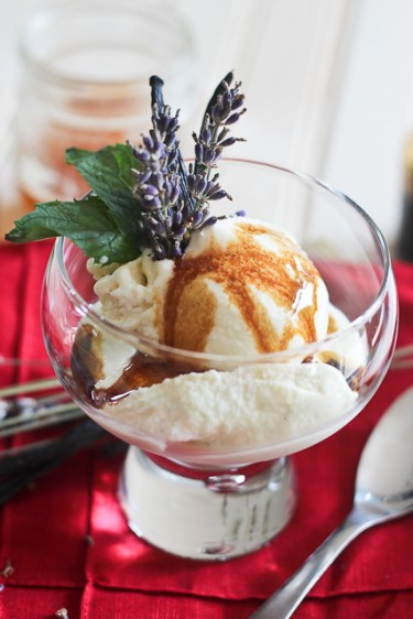 Goat Cheese Vanilla Bean Honey and Lavender Ice Cream by The Healthy Foodie