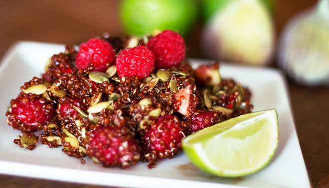 Red quinoa fig salad with raspberries, lime and pumpkin seeds