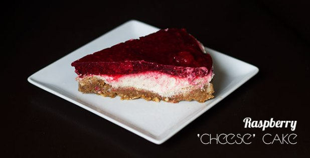 Vegan raspberry 'cheese' cake with a tangy sweet raspberry topping soft, creamy vanilla lime 'cheese' filling and crunchy, salted almond date crust