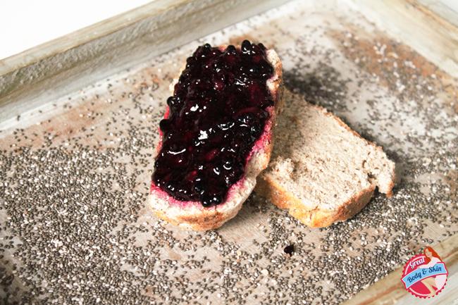 Gluten free bread with sugar free blackberry chiaseed jam