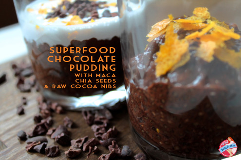 superfood chocolate pudding with chia seeds, maca and raw cocoa nibs