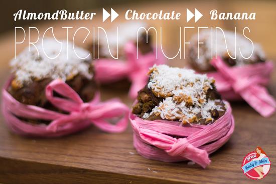 almond butter chocolate banana muffins