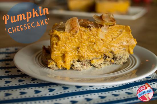 Vegetarian gluten free sugar free pumpkin 'cheesecake'