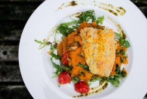 Arugula, Tomato and Pesto Sweet Potato Mash with Fish Schnitzel
