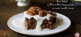 Oven Baked Pecan Pear Oat Pie with Vanilla Sauce