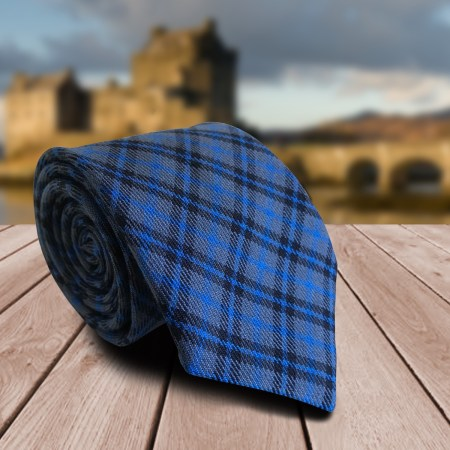 fdc8f91549af Blue Grey and Black Tartan Styled Fashion Check Woven Mens Neck Tie