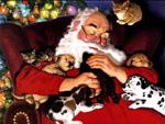 Santa with puppies