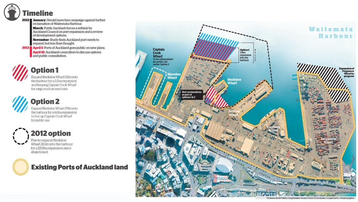 Options for expanding the Bledisloe Container Terminal, courtesy of The Herald.