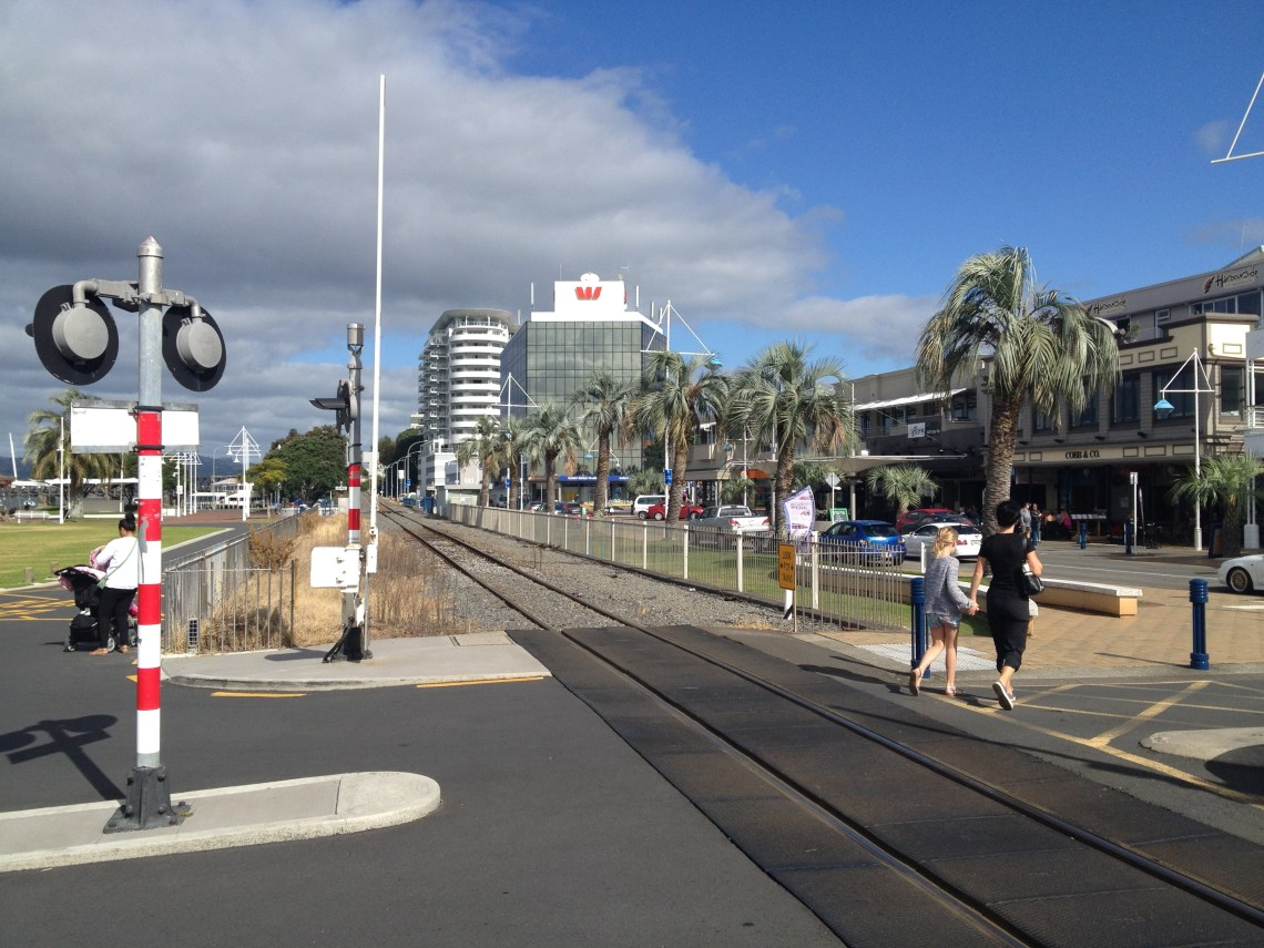 The train line runs right through the Tauranga CBD...