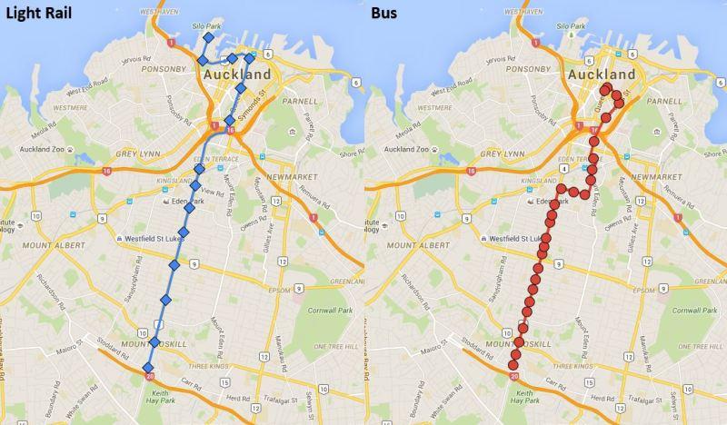 Light Rail Dominion Rd stops vs Bus