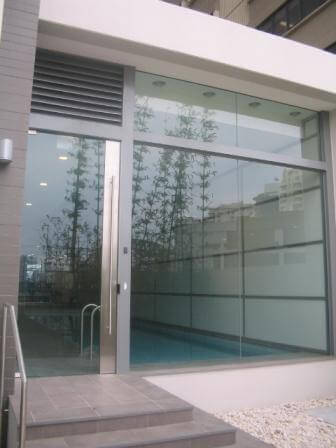 Common entrance to indoor pool area