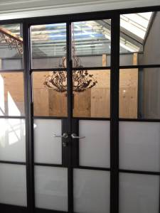 Double Doors with super white and clear toughen glass in steel frames