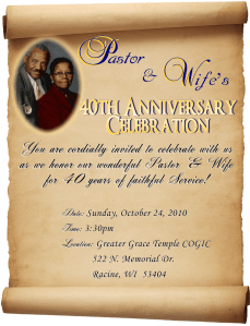 Pastor & Wife's 40th Anniversary Celebration!