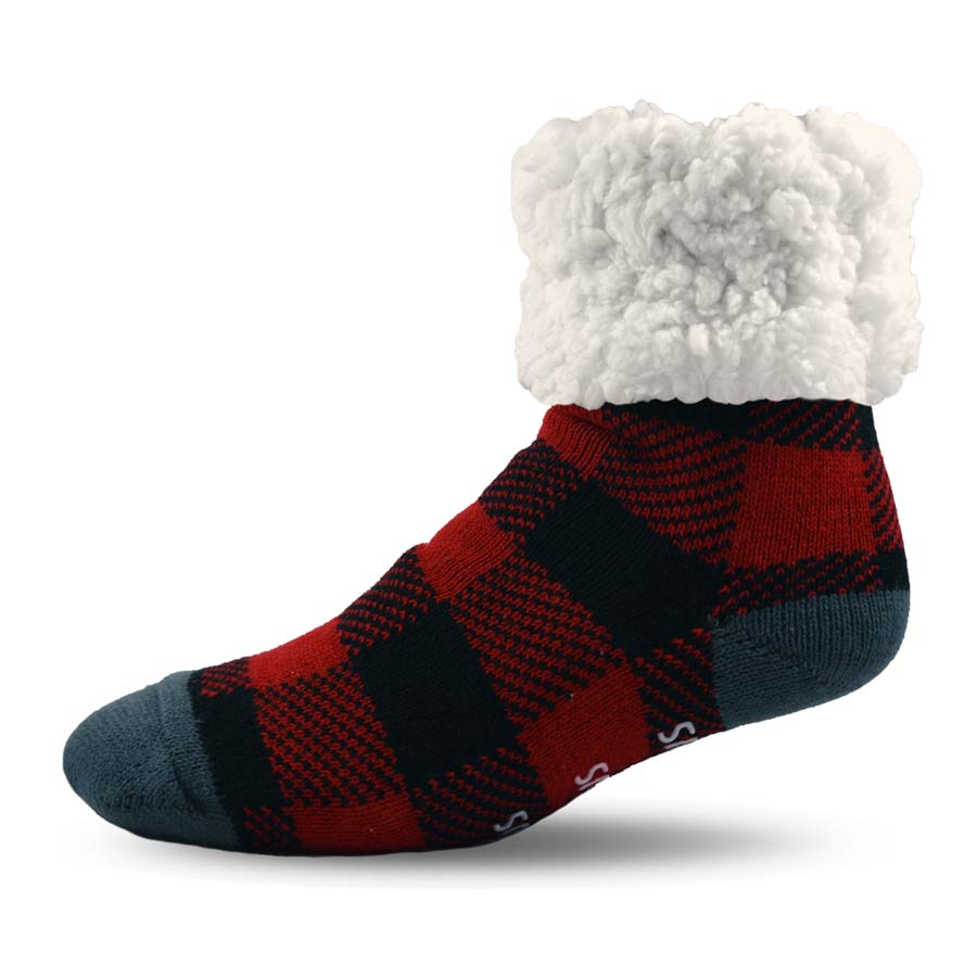 Pudus Classics Red Plaid Lumberjack Slipper Socks
