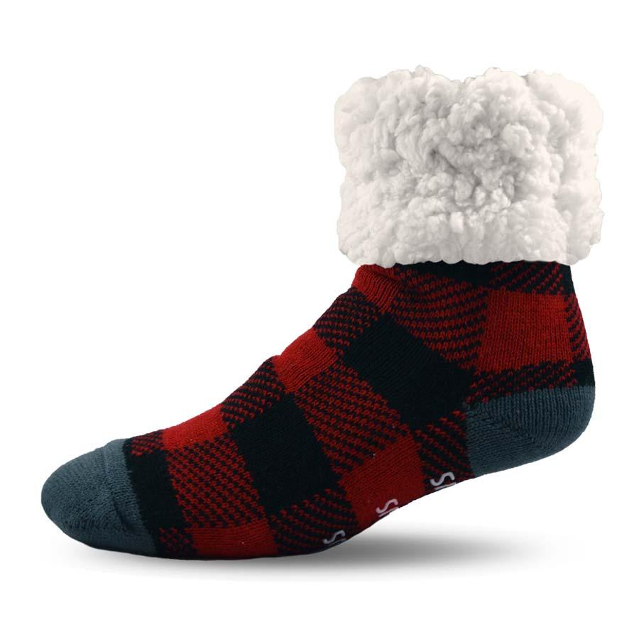 Pudus Classics Red Plaid Lumberjack Slipper Socks