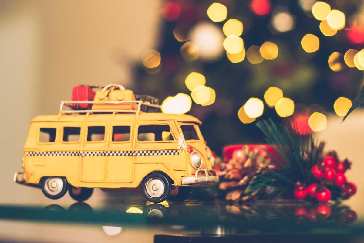 Yellow Christmas Holiday Van