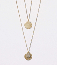 HAMMERED PAVE LAYERING NECKLACE