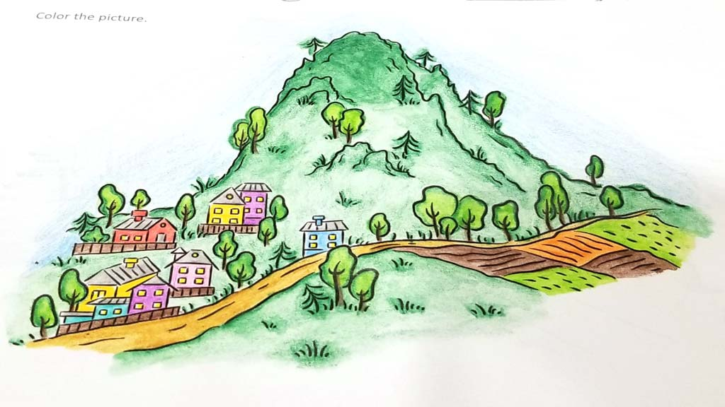 Mountain scene colored with water color pencils.
