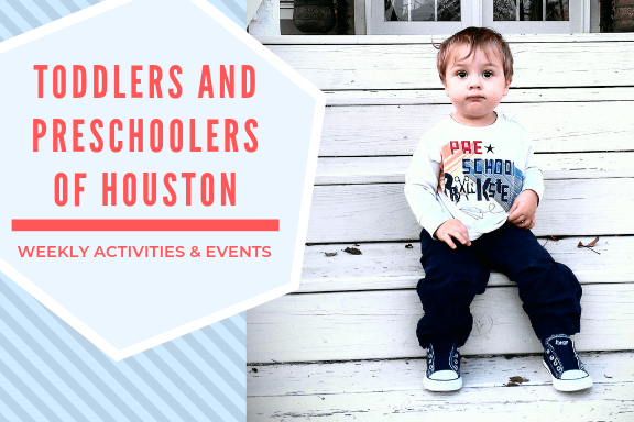Toddler wearing black converse sitting on white washed wooden steps. Hexagonal graphic says Toddlers and Preschoolers of Houston Ongoing Weekly Events & Activities