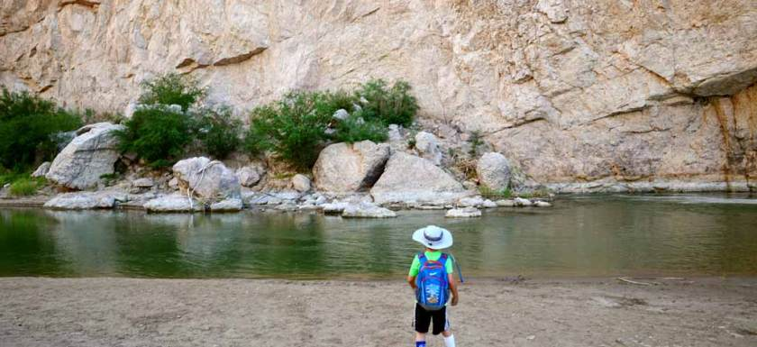 Little boy hiking Boquillas Canyon
