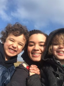 Photo of doula Lauren and her children Theo and Felix