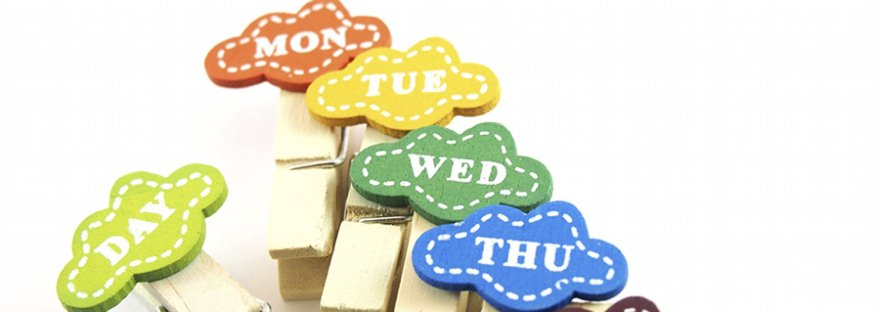 Days of the week on wooden pegs