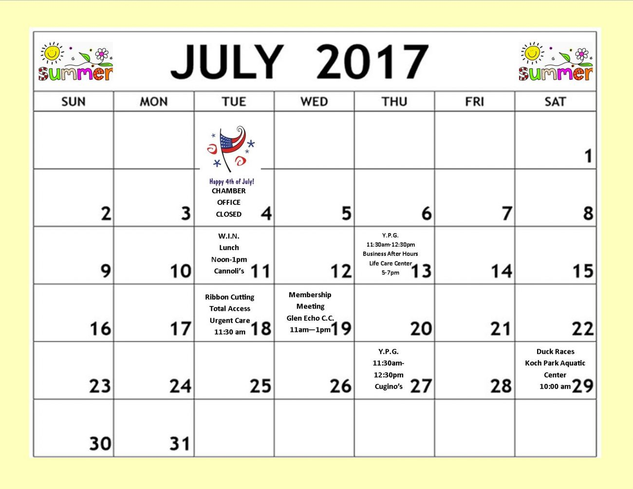 July 2017 Calendar for newsletter - Greater North County