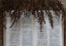 A picture of flowers flowing over a bible