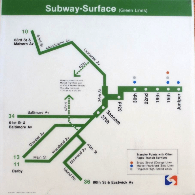 1982 SEPTA Subway-Surface (Green Lines) car map