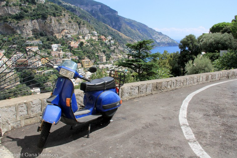 Blue scooter in Positano