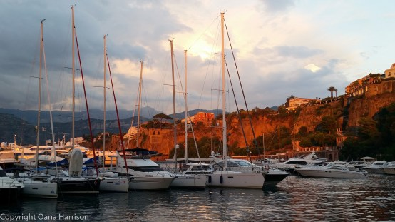 Sorrento boats in port at sunset