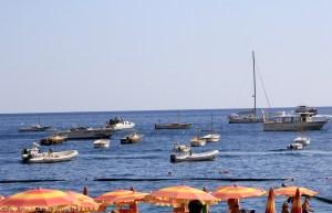 Orange beach umbrellas in Positano