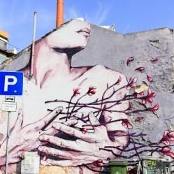 Beautiful street artwork graffiti in Lisbon