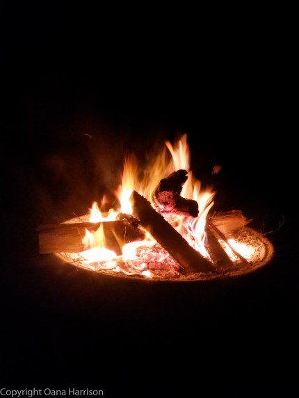 Fall night bonfire