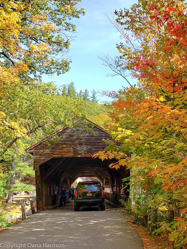 Covered bridge in the fall in New Hampshire
