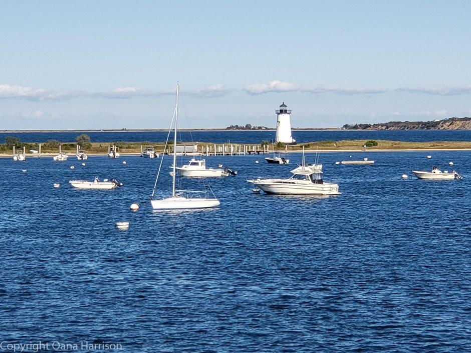 Martha's Vineyard boats and lighthouse
