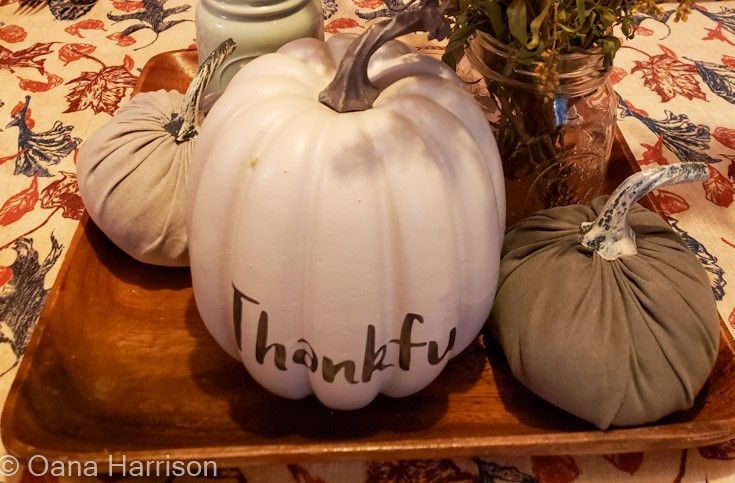 Thankful pumpkin Thanksgiving table decor