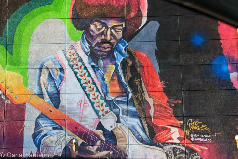 Beverly Hills and Hollywood, California; Hendrix mural