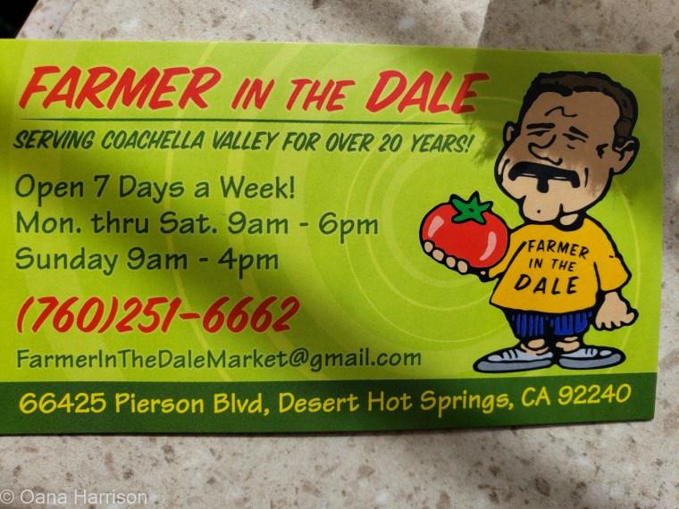 Sky Valley Desert Hot Springs CA, farmer in the dale business card