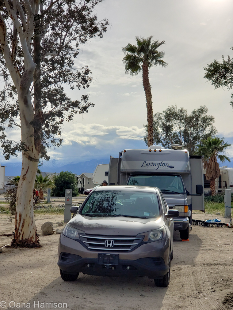 Sky Valley Desert Hot Springs CA, our RV and toad