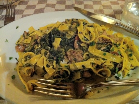 Pappardelle with porcini mushrooms at Matricianella