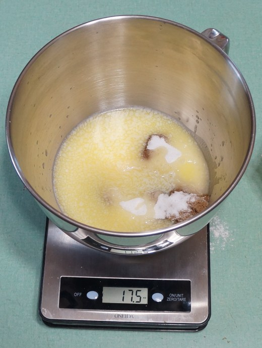 Scaled:  7.5 oz. butter added to the 10 oz. (total) of sugars