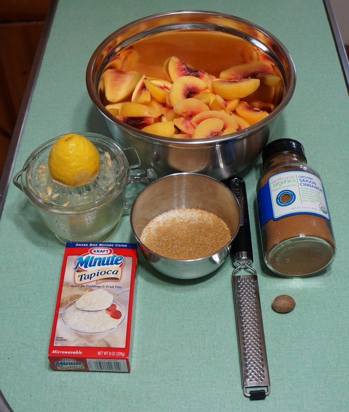 32 oz. frozen peaches with other ingredients - 5 oz. sugar (a mix of organic and turbinado ) - a juiced lemon - cinnamon and nutmeg.