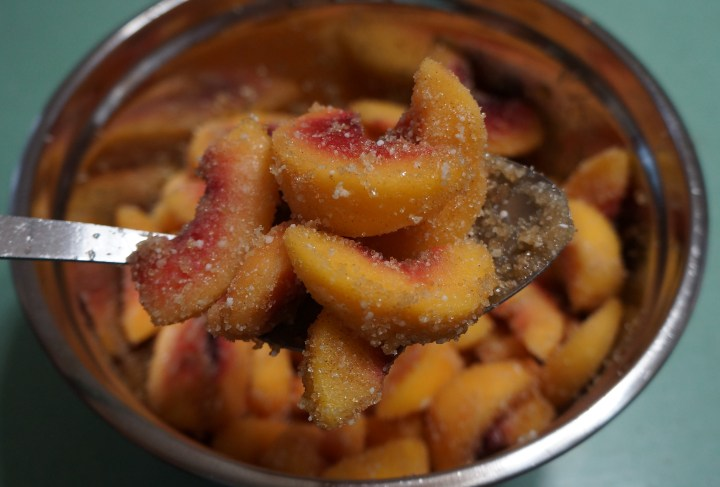 Everything mixed together - I added about 1/4 tsp. of freshly grated nutmeg + about 1 tsp. cinnamon - nutmeg and cinnamon go well with peaches.