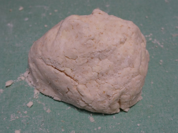 Here, I have used my hands briefly (10 seconds) to bring the dough into a ball.