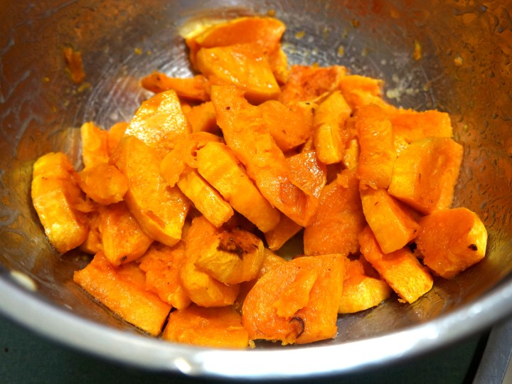 The cooked butternut squash.