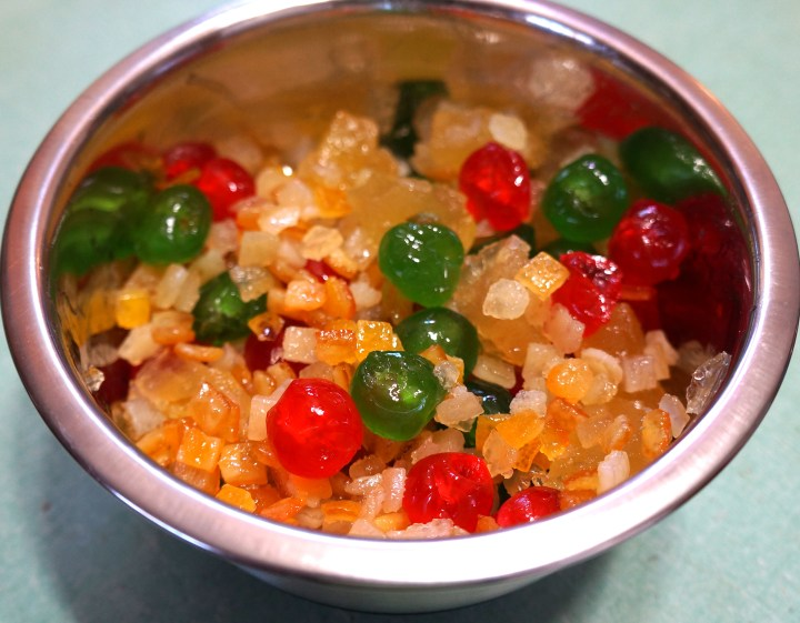 Weigh-out your candied fruit.  Use a variety for a colorful finished fruitcake.